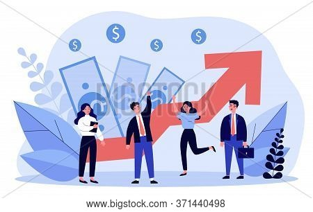 Business Team Celebrating Financial Growth. Best Employee, Competition, Income, Profit Flat Vector I