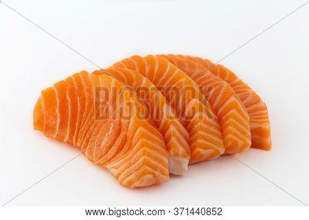 Salmon Raw Sashimi Isolated On White Background