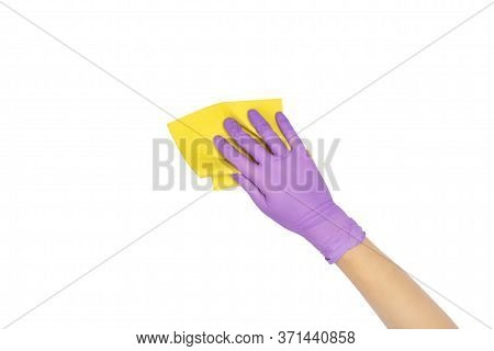 Yellow Microfiber Cloth For Washing Dishes In Female Hand. Hand In A Latex Disposable Glove Holding