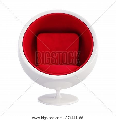 Ball Chair Isolated On White Background. Classic Furniture Model Of White Ball Chair With Red Velvet