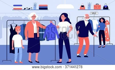 Senior People Choosing Clothes In Fashion Store. Old Couple, Customer, Shop Assistant Flat Vector Il