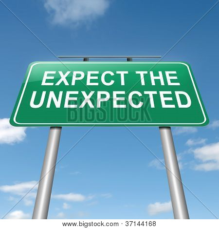 Illustration depicting a roadsign with an 'expect the unexpected' concept. Sky background. poster