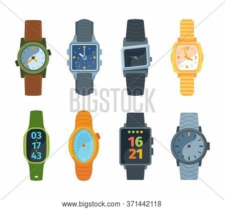 Wristwatch Set. Classic And Modern Watches Fashionable Retro Design Mechanical Proven Over Years Ele
