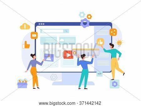 Website Development Content Concept. Programmers Designers Make Up Selling Site Place Size Adjustmen