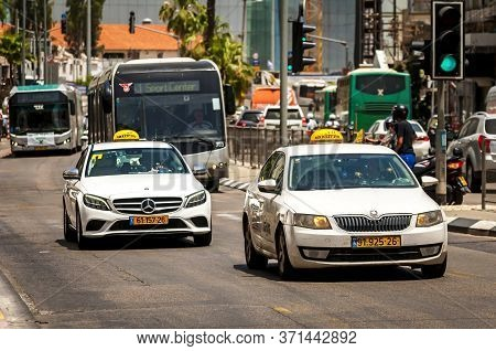 Tel Aviv, Israel. May 19, 2020. Busy Tel Aviv Traffic On The Central Hamasger Street. White Mercedes