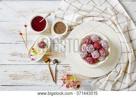 Vegan Peanut Butter And Forest Berries: Raspberries, Blackberries, Blueberries Bliss Balls With Chia