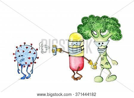 Virus Defeated Funny Illustration, Watercolor Clipart, Health