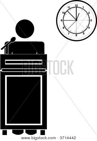 Stick Man At Podium W Clock.