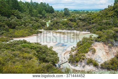 Scenery View Of Nature Trails And Landscape Of Wai-o-tapu The Thermal Wonderland In Rotorua, New Zea
