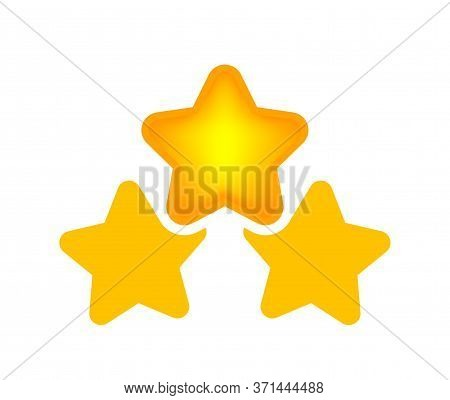 3 Stars Icon Isolated On White, Cartoon Star Shape Yellow Orange, Illustration Simple Star Rating Sy