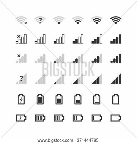 Mobile Gadget Bar Icons Set. Wi-fi Level, 4g And 5g Network Signal Strength, Battery Charge Indicato