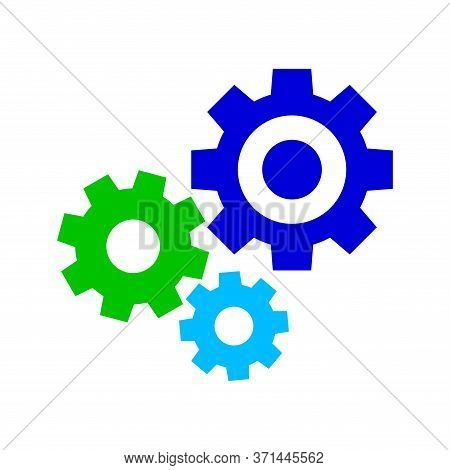 Cog Gear Colorful For Mechanization Icon Isolated On White, Circle Cog Shape For Engineering Mechani