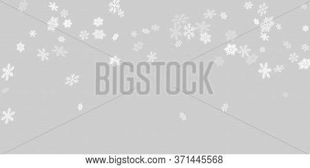 Winter Snowflakes Border Trendy Vector Background.  Macro Snowflakes Flying Border Graphics, Holiday