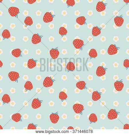 Red Strawberries On Light Blue Floral Seamless Vector Pattern. Summertime Picnic Theme Surface Print