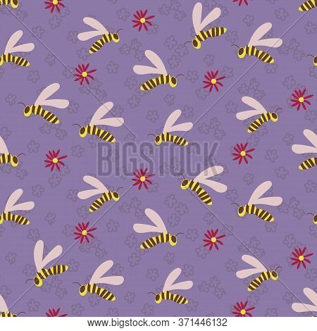 Swarm Of Wasps Seamless Vector Pattern On Lilac Garden Background. Insects Themed Surface Print Desi