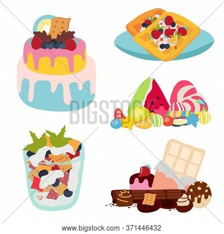Vector Set Of Sweets: Hard Candy, Chocolate, Candy Cane, Lollipop, Peppermint, Ice Cream, Watermelon