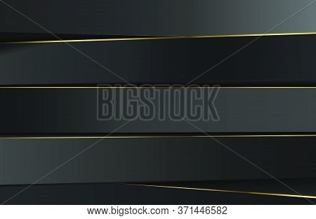 Minimal Black Abstract Geometric Architecture Background With Gold Line Element. Modern Elegant Conc