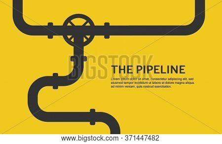 Web Banner Template. Industrial Background With Yellow Pipeline. Oil, Water Or Gas Pipeline. Vector