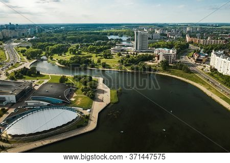 View From The Height Of Pobediteley Avenue In Minsk.the Streets Of The City Of Minsk.belarus