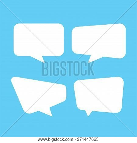 White Speech Bubble Isolated On Blue, Speech Balloon Square Sign For Communication Symbol, Doodle Wh