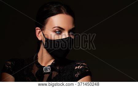 Stylish Woman Model  Wearing Designer Cloth  Face Mask Protect Against Coronavirus. Reusable Fashion