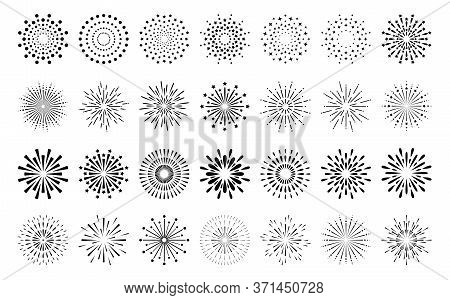 Abstract Burst Contour Pattern Fireworks Set. Black Star Shaped Firecracker Pattern Collection Isola