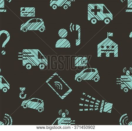 Emergency Service, Seamless Pattern, Color, Hatching, Gray With Blue, Vector. Emergency Medical And