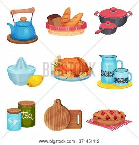 Kitchen Utensil And Appliance With Prepared Pie And Turkey Rested On Plates Vector Set