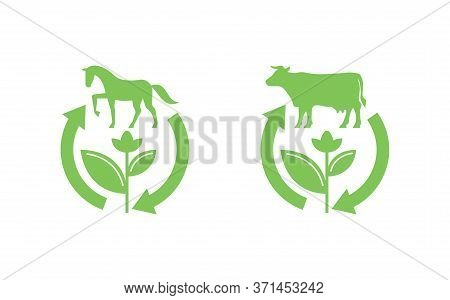 Cow Manure And Horse Manure Fertilzers Stamp - Icon With Renewable (recycling) Arrows And Animal Sil