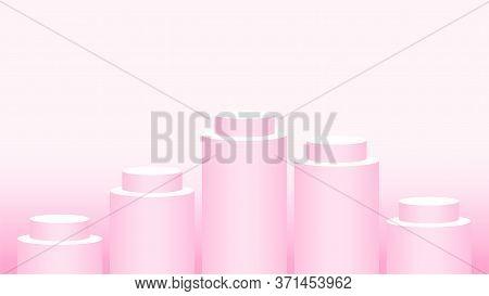 Pink Pedestal Cylinder Circle 5 Steps For Cosmetics Showcase, Podium Circle Stage Pink Pastel Soft C