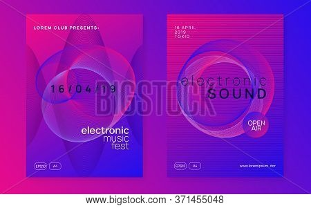 Electro Event. Dynamic Gradient Shape And Line. Geometric Show Magazine Set. Electro Event Neon Flye