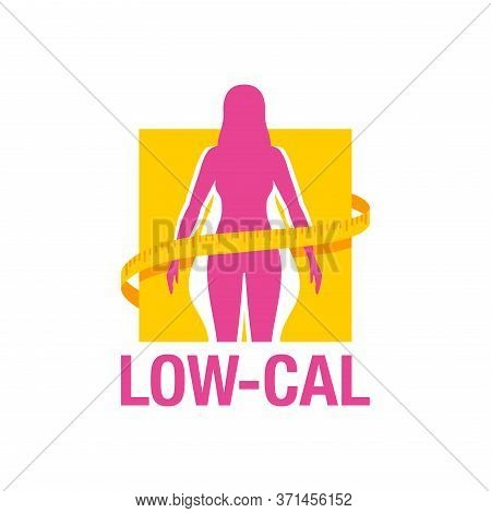 Low-cal (low Calorie) Dietary Food Products Emblem - Weight Loss  Female Silhouette (fat And Shapely