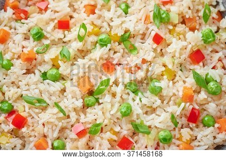 Veg Fried Rice Close Up Texture. Veg Fried Rice Is Indo Chinese Cuisine Dish. Indian Vegetarian Meal