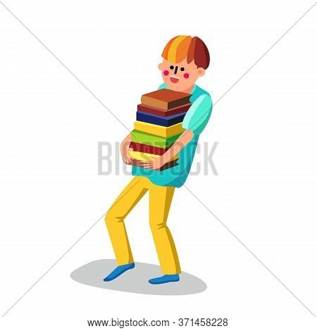 Literacy Boy Student Carries Bunch Of Books Vector