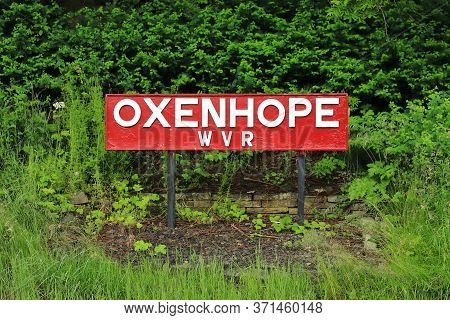 Oxenhope, England - June 24:  A Destination Sign For Oxenhope Station On The Keighley And Worth Vall