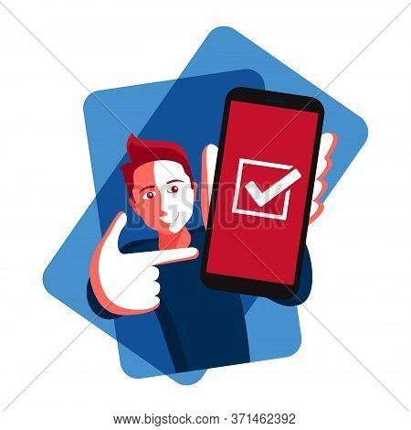 Phone In Hands - Happy Young Smiling Man Holding Phone With Check Mark On A Screen - Isolated Cartoo