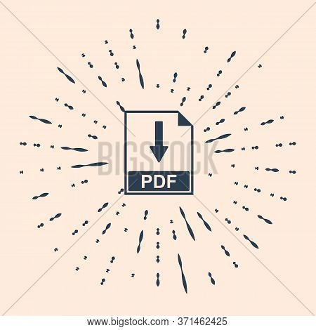 Black Pdf File Document Icon Isolated On Beige Background. Download Pdf Button Sign. Abstract Circle