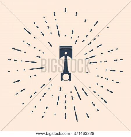 Black Engine Piston Icon Isolated On Beige Background. Car Engine Piston Sign. Abstract Circle Rando