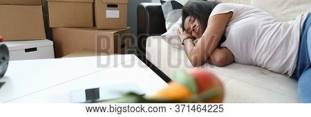 Woman Fell Asleep From Fatigue While Folding Boxes. Emotions And Perceptions Moving, Waiting For Loa