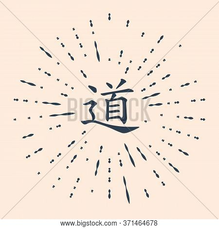 Black Chinese Calligraphy, Translation Dao, Tao, Taoism Icon Isolated On Beige Background. Abstract
