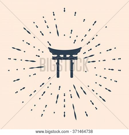 Black Japan Gate Icon Isolated On Beige Background. Torii Gate Sign. Japanese Traditional Classic Ga