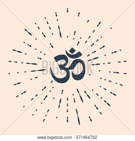 Black Om Or Aum Indian Sacred Sound Icon Isolated On Beige Background. Symbol Of Buddhism And Hindui