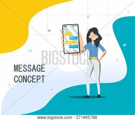 Chat Messenger Concept Of Using A Mobile Smartphone To Send Chat Messages. Modern Vector Illustratio