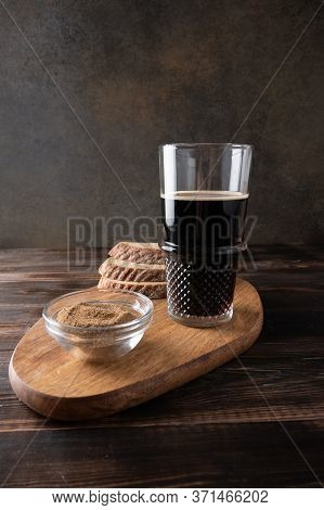 Homemade Tradishional Russian Kvass With Glass Cup And Bread On Cutting Board. Wonderful Healthy Ref