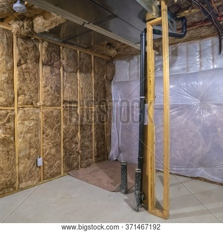 Square Crop Insulation Inside The Room Of A Frame House