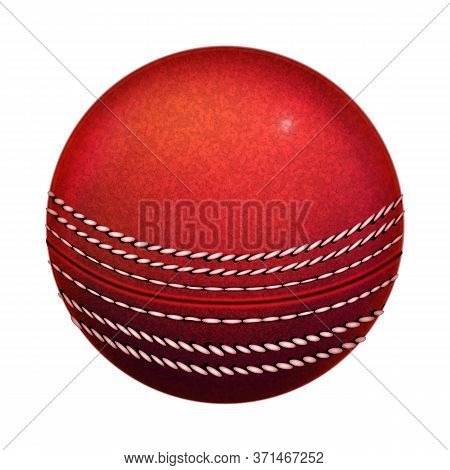 Cricket Playing Ball Sportive Equipment Vector. Red Cricket Sport Tool For Hit Stumps. Team Players