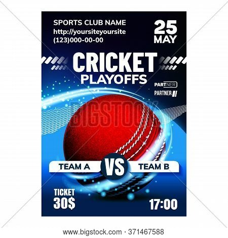 Cricket Sport Announcement Flyer Banner Vector. International Cricket Council Advertising Poster. Sp