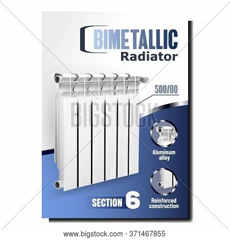 Bimetallic Radiator Heater Promo Banner Vector. Radiator Domestic Tool With Aluminum Alloy And Reinf