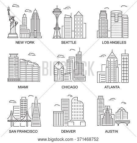 Usa Cities Sign Contour Linear Icon Set Include Of Chicago, New York, Atlanta And Miami. Vector Illu