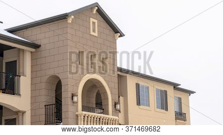 Panorama Frame Apartment With Snowy Front Gable Roof And Balustrade On The Arched Balcony